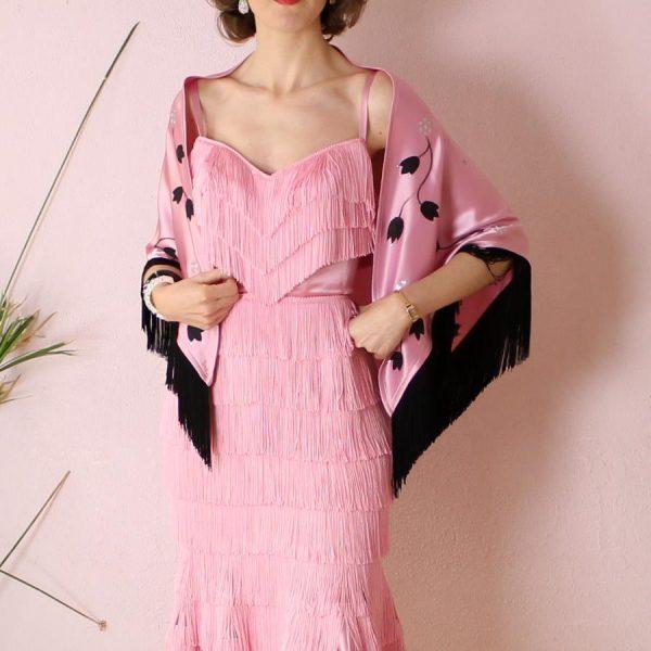 Carmen fringe dress and handpainted shawl